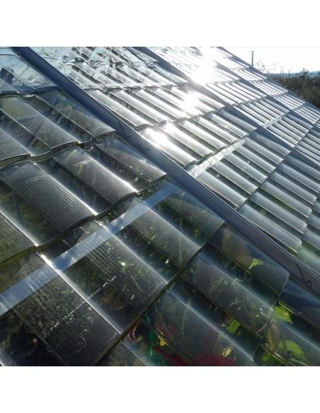 Toiture avec plaque tuiles transparente - Serre de jardin style verre