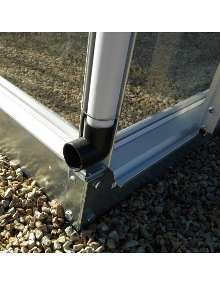 Evacuation eau de pluie - Serre de jardin en aluminium et polycarbonate