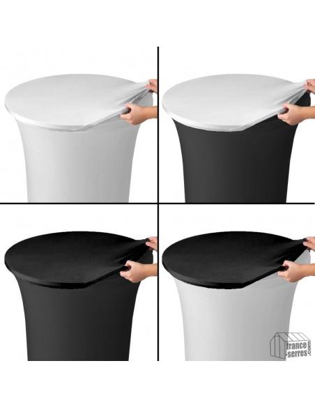 Housse de plateau ou top en Lycra noir pour table mange-debout