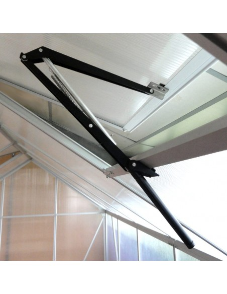 Ouverture automatique de lucarne ou vérin pour serre de jardin, compatible sur les structures en alu, bois ou PVC
