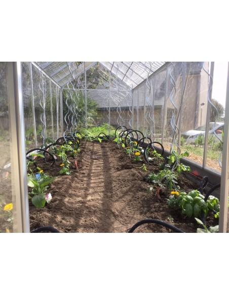 Serre de jardin Cristal 9,30m² avec polycabonate transparent et polycarbonate effet tuile transparente sur le toit