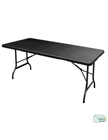 Table rectangulaire 180cm NOIRE imitation bois pliante en valise en Polyéthylène