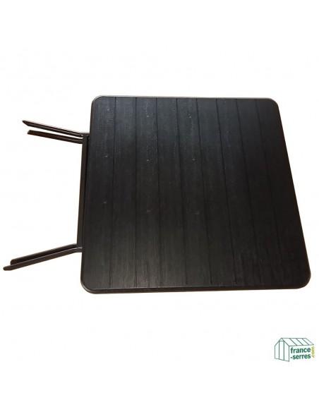 Table carrée 78cm NOIRE imitation bois pliante en valise en Polyéthylène