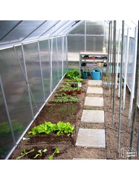 Interieur serre de jardin Premium en aluminium et Polycarbonate ALVÉOLAIRE 9,30m²