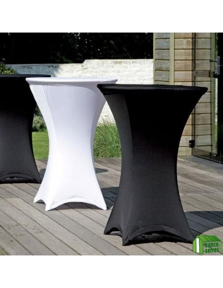 Table haute mange-debout pliante en Polyéthylène en situation avec housse
