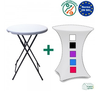 Pack Table Mange-debout + housse lycra