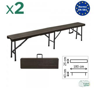 Lot de 2 bancs NOIRS imitation bois pliants en valise de 180cm en Polyéthylène