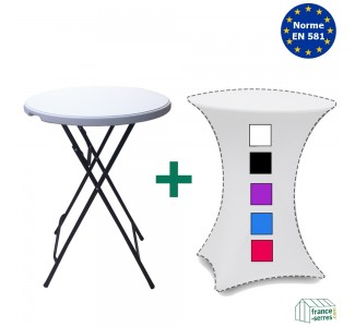 Pack Table Mange-debout + housse en lycra