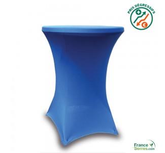 Housse tubulaire en Lycra bleu pour table mange-debout