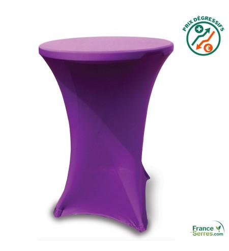 Housse tubulaire en Lycra violet pour table mange-debout