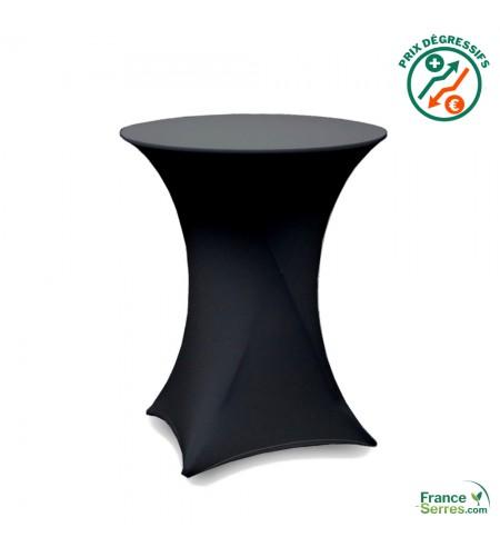 Housse tubulaire en Lycra noir pour table mange-debout