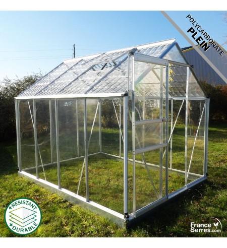 Serre de jardin Cristal 4,75m² avec polycabonate plein transparent et polycarbonate plein effet tuile transparente sur le toit