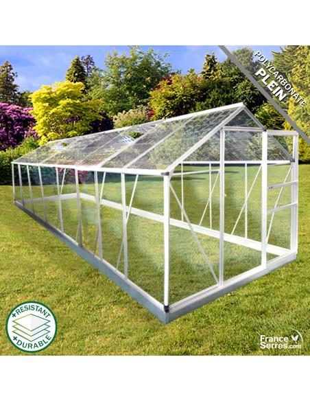 Serre de jardin Cristal 9,30m² avec polycabonate plein transparent et polycarbonate plein effet tuile transparente sur le toit