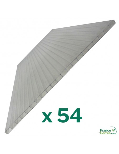 Assortiment de 54 panneaux en polycarbonate alvéolaire 4mm pour serre de jardin