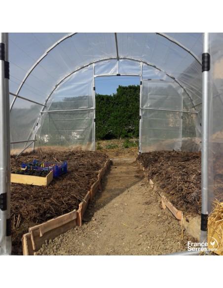 Serre tunnel de jardin SEMI PRO 2 portes bâche 5 couches
