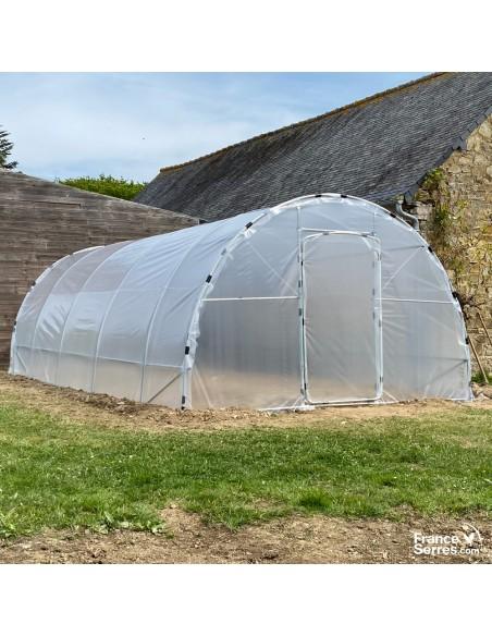 Serre tunnel de jardin SEMI PRO 2 portes 28m² structure acier galvanisé Ø32mm bâche transparente 200 microns