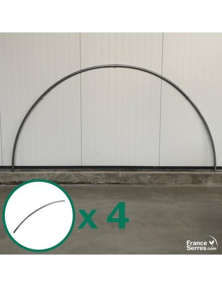 Lot de 4 tubes soit 1 arceau demi-lune en acier galvanisé Ø32mm