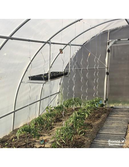 Etagère suspendue avec 4 bacs de culture pour serre tunnel de jardin