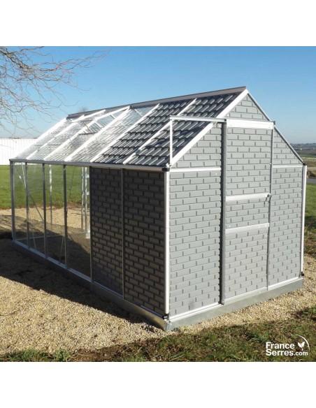 Serre de jardin en polycarbonate transparent avec cabanon