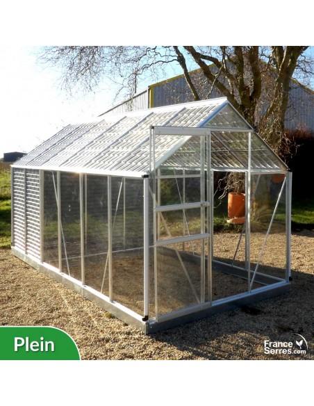 Serre de jardin Polycarbonate PLEIN 4,70m² + abri 2,40m²