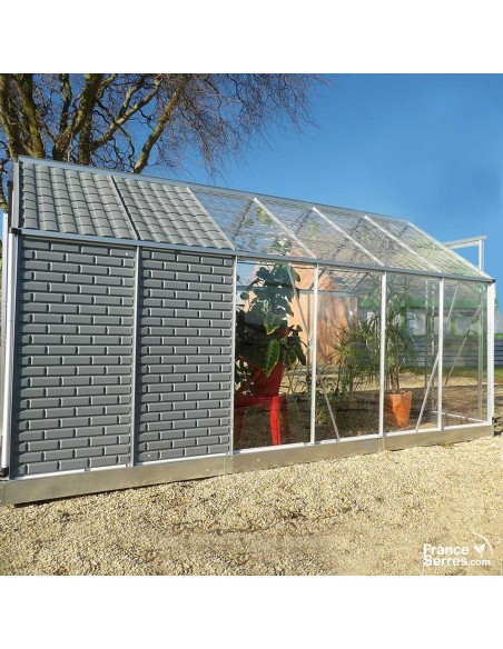 Serre en polycarbonate avec abri de jardin