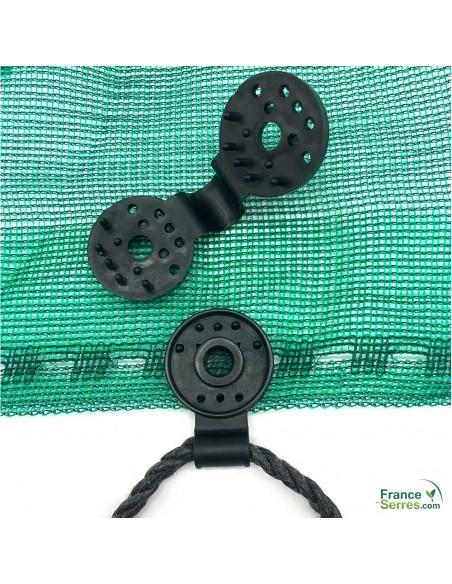 clips noirs en PVC pour voile d'ombrage