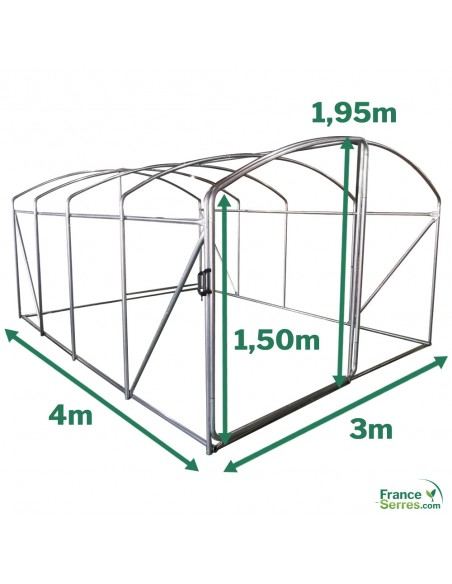 serre tunnel pieds droits 3x4m