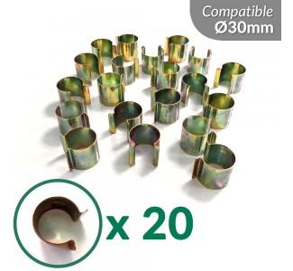 Lot de 20 clips en Acier zingué pour serre tunnel de 30mm de diamètre