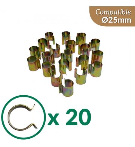 Lot de 20 clips en acier nickelé pour serre tunnel de 25mm de diamètre