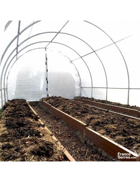 Serre tunnel de jardin bâche renforcée 240g de 18m²